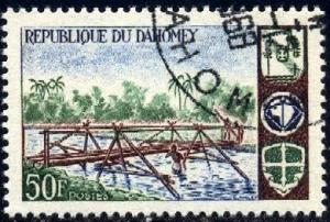 Scouts Building Foot Bridge, Dahomey stamp SC#225 Used
