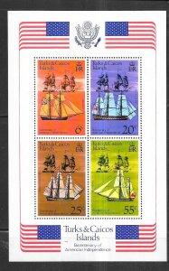 Turks & Caicos Islands #314a U.S. Bicentennial  S/S (MNH) CV$2.00