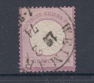 Germany Sc 14 used 1872 ¼gr violet Eagle w/ Large Shield, F-VF