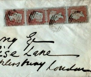 GB Wales SG.32 Cover 1d Brown-Rose BLOCK FOUR Separated Pairs 1856 Swansea EP370
