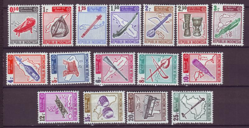 J21039 Jlstamps 1967 indonesia set mh #705-20 music