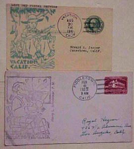 US COVER COULTER CACHET  FIDDLETOWN CA 1937 on ENTIRE & VACATION 1941