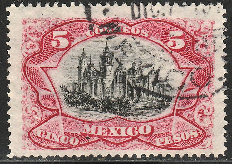 MEXICO 303, $5P MEXICO CITY CATHEDRAL. USED (383)