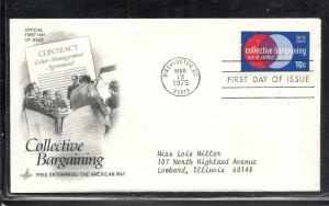 US #1558 Collective Bargaining Artcraft cachet addressed fdc