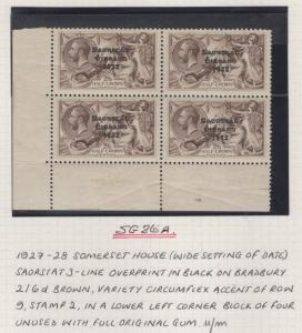 IRELAND SG86/a 1927 2/6 ONE WITH CIRCUMFLEX OVER A MNH IN BLOCK OF 4(MTD MARG)