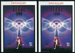 Paraguay - Seoul Olympic Games MNH Sports 2X Sheets Set A+B Flame (1988)
