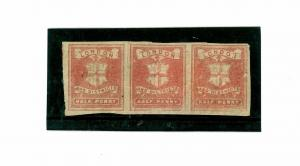 SS3332 1867 London Circular Delivery Co./Unused Strip of Three Private Issues