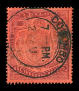 CEYLON  1925  KGV 1000r violet, red   Scott # 218  used