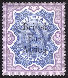 KUT-BEA 1895 5r Violet & Ultra BEA on India QV SG 63 Sc 70 LMM/MLH Cat£150($202)