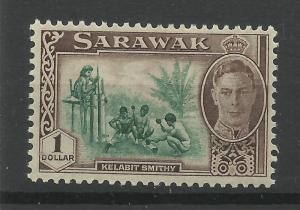 Sarawak 1950 Sg 183, $1 Green & Chocolate, Lightly Mounted Mint. [1443]