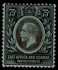 EAST AFRICA and UGANDA GV SG52a, 75c black/green, LH MINT.