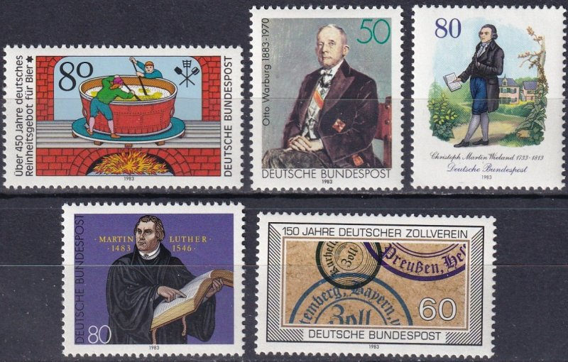 Germany #1396, 1400-01, 1406-7 F-VF Unused  CV $6.45 (Z7457)