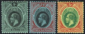 SOUTHERN NIGERIA 1912 KGV 1/- 2/6 AND 5/-