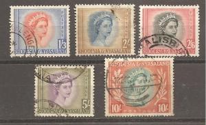 Rhodesia & Nyasaland  Scott #150-154  Used  Scott CV $33.40