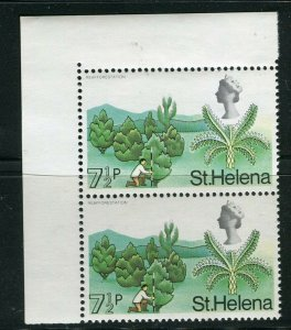 ST. HELENA; 1968 early QEII Pictorial issue fine MINT MNH Corner Pair, 7.5p