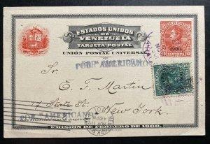 1901 Caracas Venezuela Postal Stationery Postcard Cover To New York USA