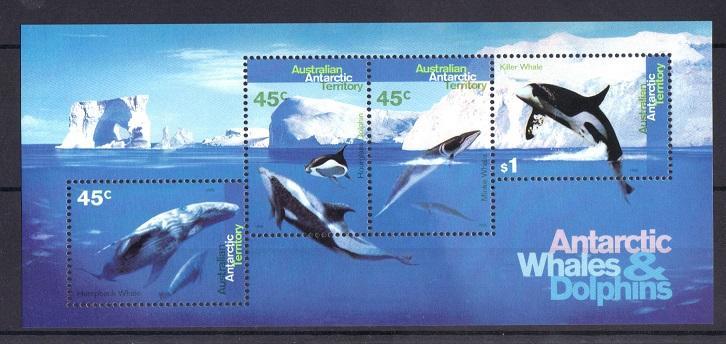 Australian Antartic Territory 1995 MNH whales  sheet