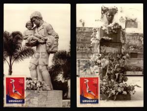 1972 Uruguay Dionisio Diaz Child Hero wounded bird Dove Maxi card set 3 Maximum