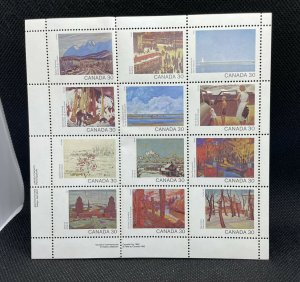 1982 Canada Day SC#966a Paintings of Each Province Stamp Sheet of 12 MNH $3.60