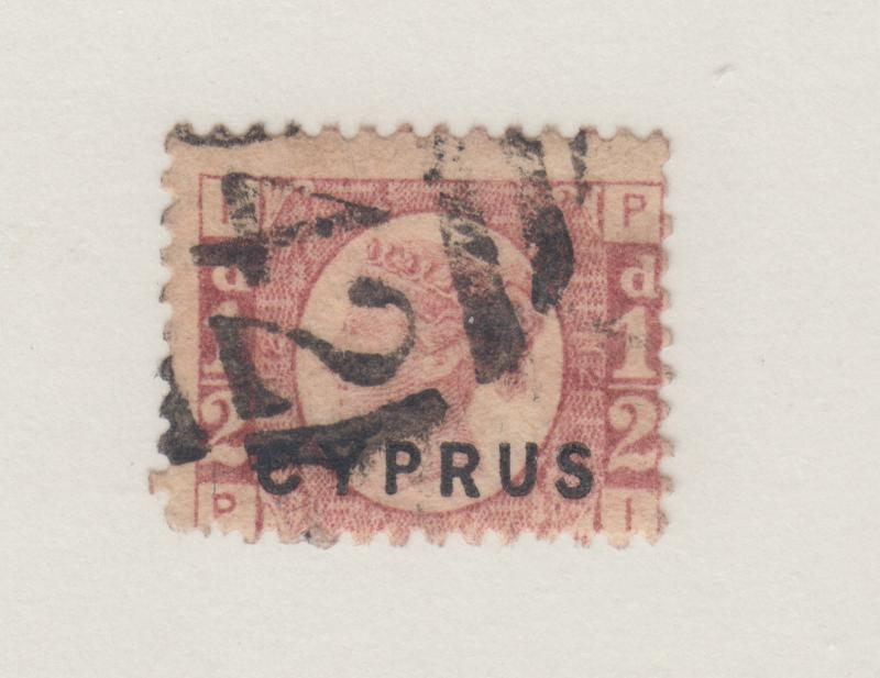 Cyprus Sc 1 used 1880 ½p rose QV of Great Britain w/ CYPRUS ovpt, plate 12