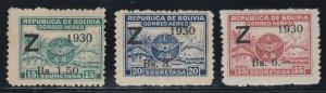 Bolivia 1930 LAB Zeppelin Z o/p set. M Mint. Only 3000 printed. Scott C24-26