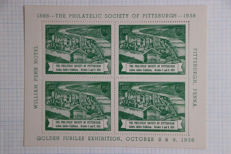Pittsburgh PA Philatelic Society 1938 Golden Jubilee expo William Penn SS Poster