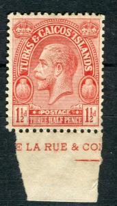 TURKS & CAICOS; 1922 early GV issue fine Mint hinged 1.5d. value