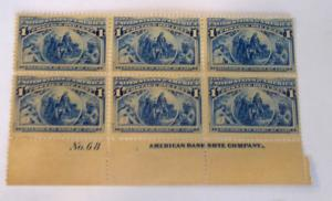 #230 1 cent Columbian plate block