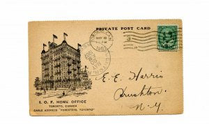 L.O.F. Home Office Private post card 1907 Edward issue to USA, Canada