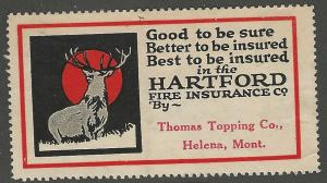 Hartford Fire Insurance Co, Early Poster Stamp, Cinderella Label, Unused