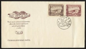 wc041 Czechoslovakia 1950 postal league employees FDC first day cover train