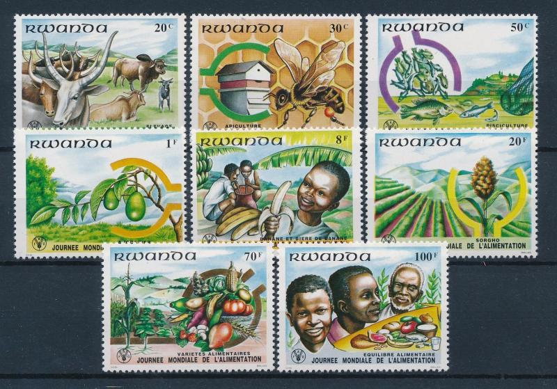 [49968] Rwanda 1982 Animals Cow Fish Bees Agriculture MNH