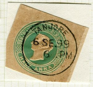 INDIA; POSTMARK fine used cancel on QV issue, PIECE Tanjore
