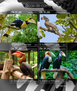 St Thomas - 2019 Hornbill Birds - 4 Stamp Sheet - ST190210a