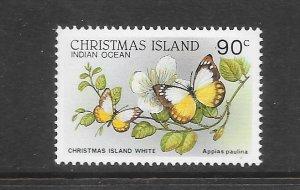 BUTTERFLIES - CHRISTMAS ISLAND #208  ISLAND WHITE   MNH