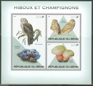 BENIN 2015 OWLS AND MUSHROOMS SHEET OF THREE STAMPS