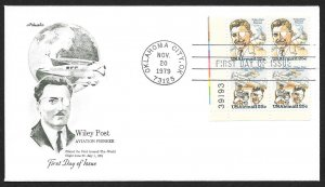 UNITED STATES FDC 25¢ Wiley Post PLATE BLOCK 1979 Artmaster
