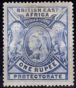 B.E.A KUT 1897 1R Grey-Blue SG92 Fine Mtd Mint
