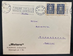 1932 Kaunas Lithuania Motors Commercial cover To Copenhagen Denmark