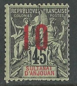 Anjouan # 27  Numeral Overprint  10c on 45c.  (1)   Unused