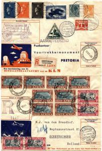 Netherlands Amsterdam to South Africa Pretoria First Flight Cover FFC KLM 1938