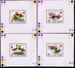 Birds WWF Mandarin Duck 4 De-Luxes perforated