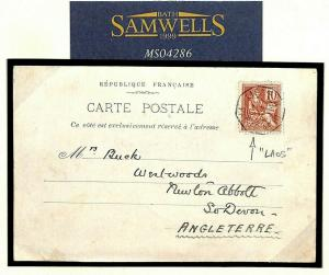 France Colonies LAOS GB Devon Postcard 1902 {samwells-covers} MS4286