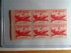 SCOTT # C39A SIX CENT AIR MAIL  PANE GEM MINT NEVER HINGED STUNNING !!