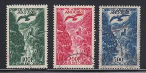 Andorra, French Sc C2-C4 used 1955-57 River & Bird Air Post cplt