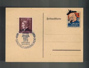 1943 Krakow Germany GG Poland Postcard Card Cover Churchill Cartoon