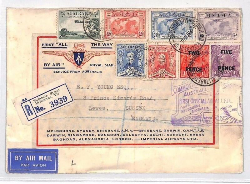 BH105 1951 AUSTRALIA Melbourne GB Lewes REGISTERED Airmail First Flight