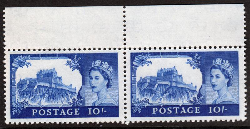 GB QEII 1959 Castles 10/- 10s Ultramarine Marginal Pair SG597a Mint Never Hinged