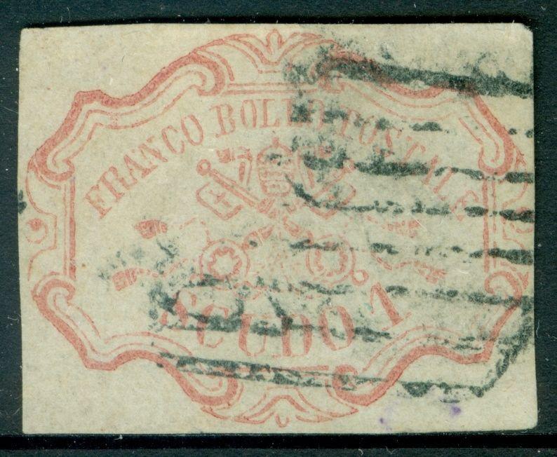 Italien Römische States : 1852. Sassone #11 Auswahl Used & VF Stempel Signiert