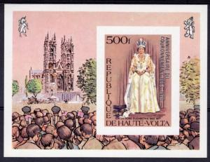 UPPER VOLTA 1978 Sc#480 Coronation 25th.Anniv.ovpt.Silver S/S IMPERFORATED MNH